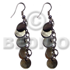 Dangling 5 pcs. 10mm round Shell Earrings