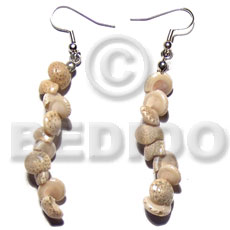 Dangling round white bonium shells Shell Earrings