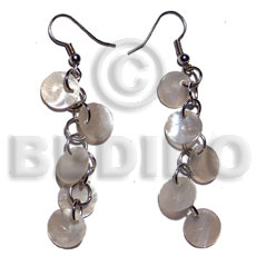 Dangling 5 pcs.10mm round naturalhammershell Shell Earrings