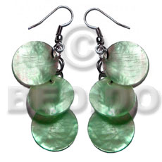 hand made Dangling 3pcs. round 15mm mint Shell Earrings