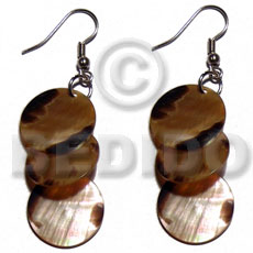 Dangling 3pcs. round 15mm brownlip Shell Earrings