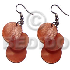 Dangling 3pcs. round 15mm orange Shell Earrings