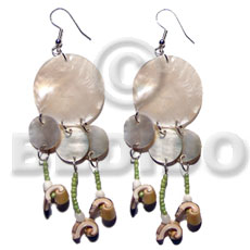 Dangling 25mm 10mm round natural hammershells Shell Earrings