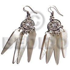 Dangling 40mmx8mm hammershell sticks in Shell Earrings