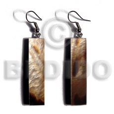 Dangling 40mmx10mm brownlip tiger bar Shell Earrings