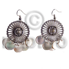 Dangling 10mm round hammershells in Shell Earrings