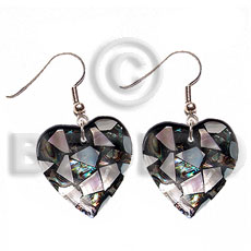 Dangling heart 35mm laminated paua hammershell Shell Earrings