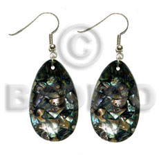 hand made Dangling teardrop 35mmx25mm laminated paua Shell Earrings