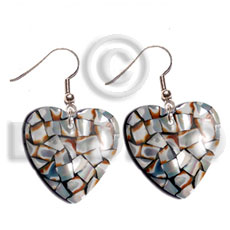 dangling heart 35mm laminated cowrie tiger shells  black resin backing - Shell Earrings