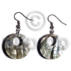 hand made Dangling 35mm round blacklip cracking Shell Earrings