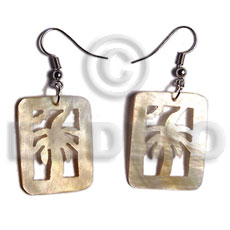 dangling 20mmx30mm rectangular MOP  carved tree design - Shell Earrings