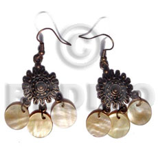 dangling 3 pcs. 12mm round MOP in  antique oxidize metal - Shell Earrings