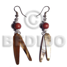dangling 2 pcs. 40mmx8mm brownlip sticks  wood beads accent - Shell Earrings