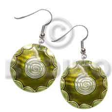 dangling 35mm round kabibe shell, handpainted, embellished  embossed metallic gold line accent - Shell Earrings