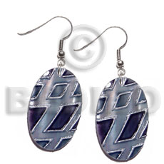 dangling 30mmx20mm oval kabibe shell, handpainted, embellished  embossed metallic silver line accent - Shell Earrings