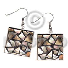 dangling flat 20mmx20mm square black resin  laminated  brownlip chips - Shell Earrings