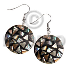 Dangling flat round 35mm black Shell Earrings