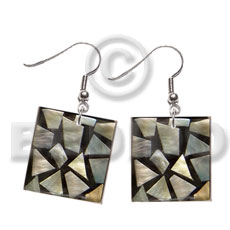 dangling flat 20mmx20mm square black resin  laminated  MOP chips - Shell Earrings