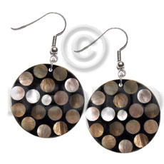 dangling flat 35mm black round resin laminated brownlip circles - Shell Earrings