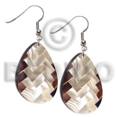 dangling teardrop 40mmx27mm flat resin  laminated diagonal cut blacklip/kabibe shell combination - Shell Earrings