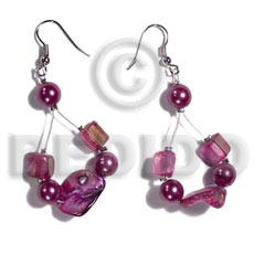 Dangling floating lavender kabibe shell Shell Earrings
