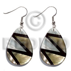 hand made Dangling 40mmx30mm teardrop laminated kabibe Shell Earrings