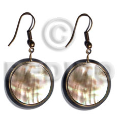 dangling round  laminated brownlip  brasswire trimming and  black resin backing - Shell Earrings
