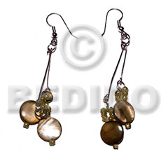 hand made Dangling laminated 10mm round golden Shell Earrings