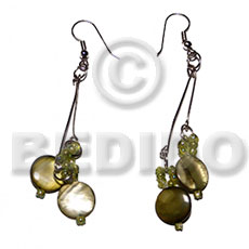 Dangling laminated 10mm round olive Shell Earrings