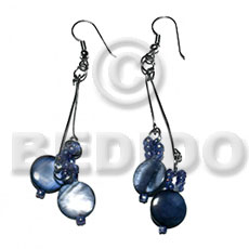 Dangling laminated 10mm round blue Shell Earrings