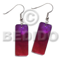 Dangling 20mmx8mm rectangular two tone Shell Earrings