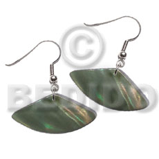 dangling pie cut / kabibe / graduated olive / 25mmx10mm - Shell Earrings