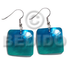 Dangling 25mm square hammershell pendant Shell Earrings