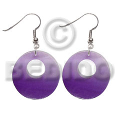 Dangling 25mm round kabibe shell Shell Earrings