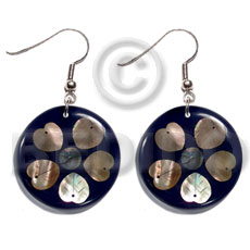hand made Dangling 35mm round laminated brownlip Shell Earrings