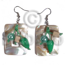 Dangling 40mmx30mm rectangular kabibe shells Shell Earrings