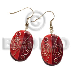 dangling handpainted and colored oval 35mmx26mm kabibe shell pendant embellished  elevated /embossed metallic paint accent lines / red and gold tones - Shell Earrings