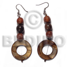Dangling 30mm round laminated golden Shell Earrings