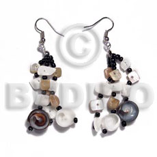 Dangling 3 rows floating white Shell Earrings