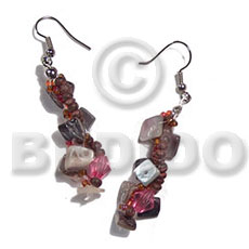 dangling twisted floating hammershell square cut/glass beads/2-3mm purple coco Pokalet combination - Shell Earrings