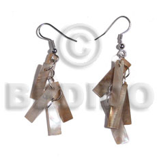 Dangling 5 pcs. brownlip bars Shell Earrings