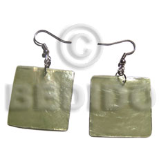 Dangling 30mm square olive green Shell Earrings