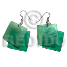 "hand made Dangling ""square 30mm laminated green Shell Earrings"