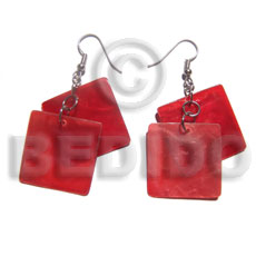 dangling square 30mm laminated red capiz - Shell Earrings