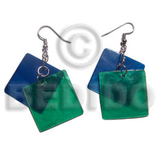 dangling 2 overlapping 25mm laminated capiz i / in royal blue and green combination - Shell Earrings