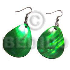 "Dangling ""35mmx30mm"" green kabibe shellteardrop Shell Earrings"