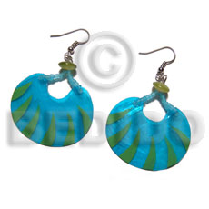 dangling 40mmx30mm laminated capiz / aqua blue and lime green tones - Shell Earrings