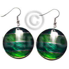 Dangling handpainted and colored round Shell Earrings