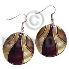 dangling handpainted and colored round 30mm kabibe shell pendant embellished  elevated /embossed metallic paint accent lines / brown and gold tones - Shell Earrings