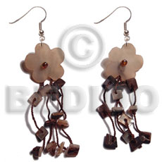 dangling  15mm tassled hammershell flowers/ chips in brown tones - Shell Earrings
